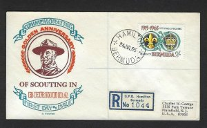 1965 Bermuda registered C George Boy Scouting 50th anniversary FDC