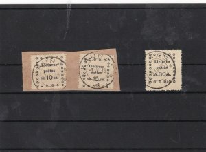 lithuania 1919 used + cancelled on piece stamps ref 7463