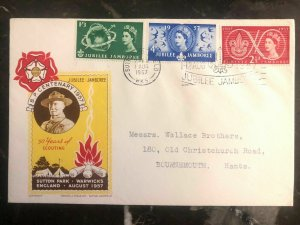 1957 Sutton Park England First Day Cover Scouts Jubilee Jamboree BP Centenary B