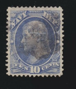 US O40 10c Navy Department Used VF SCV $45