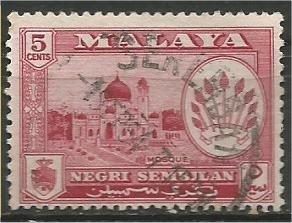 NEGRI SEMBILAN, 1957 used  5c Arms of Negri Sembilan Scott 67