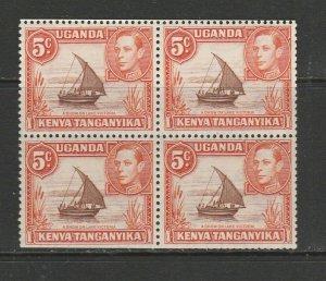 KUT GV1 1938/54 5c Brown & Orange P13 x 12.5 Booklet pane of 4 UM/MNH SG 133a