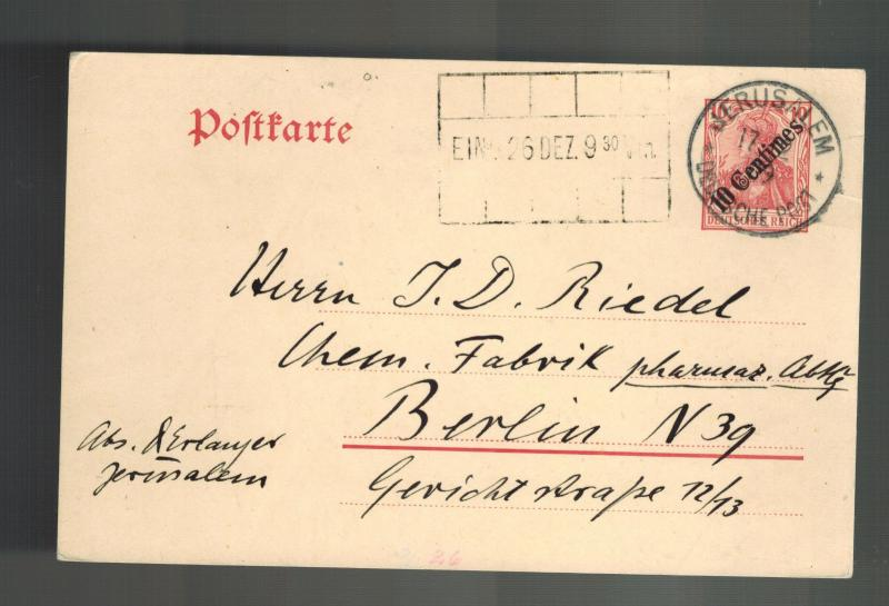 1909 Germany Post Office Jerusalem Palestine Postcard Cover to Berlin