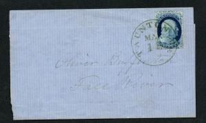US Scott #20 on Cover With Nice Green Taunton MA CDS Cancel !