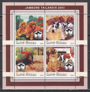 Guinea Bissau, Mi cat. 2037-2040 A. Scout Jamboree sheet with Dogs. ^