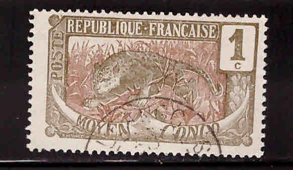 Moyen Middle Congo Scott 1 Used stamp 1907