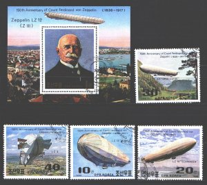 North Korea. 1988. 2948-51, bl237. Zeppelin Airships. USED.