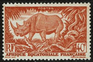French Equatorial Africa 168 MNH - Wild Animals - Rhinoceros (1946)