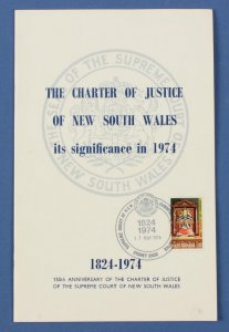 AUSTRALIA : The Charter of Justice of NSW 1824-1974, 16pg booklet