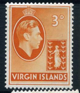 BRITISH VIRGIN ISLANDS;  1938 GVI issue fine Mint hinged 3d. value SG 115