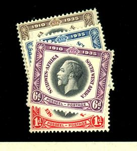 South West Africa #121-24 MINT F-VF OG VLH