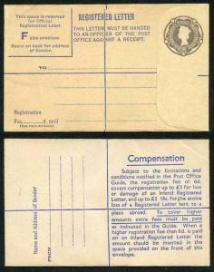 RP73 8 1/2d Grey Registered Envelope RF16 Size F mint