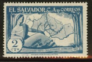 El Salvador Scott 682 used 1956 map stamp