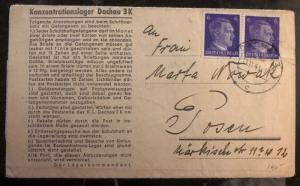 1943 Germany Dachau Concentration Camp Letter Cover to Poznań Polan Nowak
