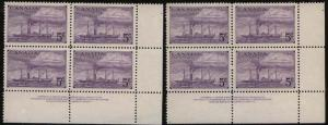 Canada #312 5c Ocean Liners - Plate 1 LR and Plate 2UR - VF-NH