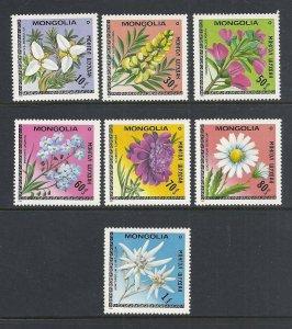 Mongolia #1055-61 comp mnh cv $4.30 Flowers