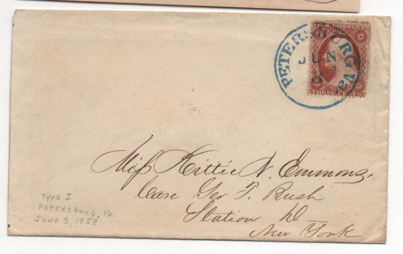 VA US Cover Scott #25 Petersburg June 3, 1858 Blue CDS with Letter