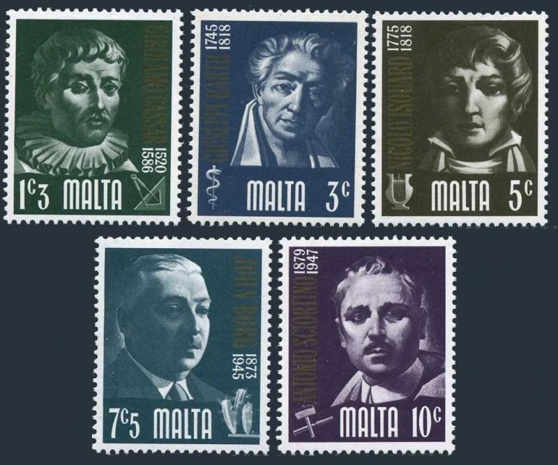 Malta 475-479,MNH.Mi 481-485. Prominent Maltese,1974.Composer,Botanist,Sculptor,