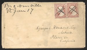 Doyle's_Stamps: California Postal History XF Imperf Pair on Cover     (L31)