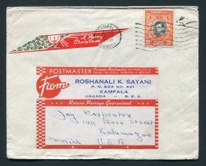 1951 Kampala, Uganda to Kalamazoo, Michigan USA - Tied Christmas Label
