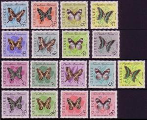 Guinea Butterflies 17v COMPLETE SG#383-399 MI#183-199 SC#291-304+C47-C49