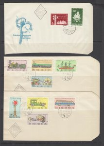 Hungary Sc 1194/C184, 1224/C201 cacheted FDC 1958-59 issues, 2 sets, unaddressed