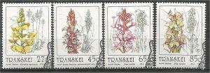 TRANSKEI, 1992, CTO Complete set, Orchids, Scott 263-266