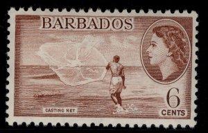 BARBADOS QEII SG294, 6c red-brown, LH MINT.