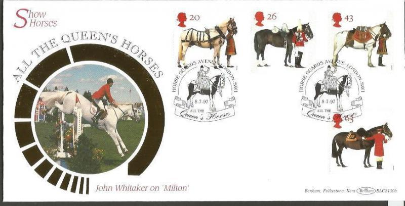 All the Queens horses 1997 Benham Official FDC BLCS130b London SW1 postmark Z219