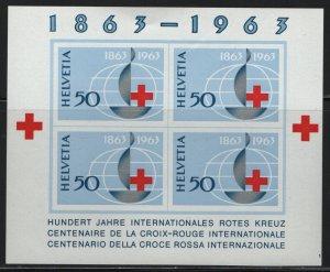 SWITZERLAND, 428, SOUVENIR SHEET OF 4, USED, 1963, RED CROSS
