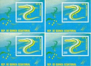 Equatorial Guinea 1978 MiBl.305 Prehistoric Animals UNCUT Block of 4 Color Proof