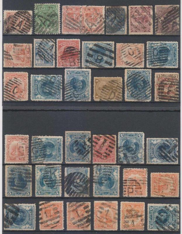 URUGUAY 1884-1910 CHOICE MUTE CANCELS ON 37 STAMPS LETTERS A thru P