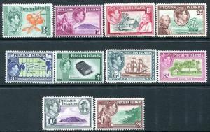 PITCAIRN ISLANDS-1940-51 Set of 10 Values Sg 1-8 LIGHTLY MOUNTED MINT V24470