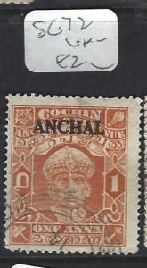 INDIA NATIVE STATE COCHIN  (PP0903B) SG 72     VFU
