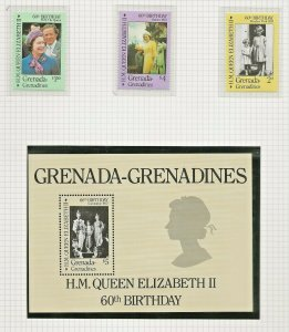 GRENADA GRENADINES1986 60TH BIRTHDAY QUEEN ELIZABETH II,SET & SOUVENIR SHEET UM