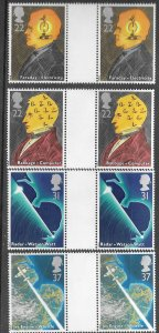 Great Britain # 1360-63  Sciences & Technology  GUTTER PAIRS   (4) Mint NH