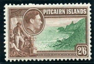 Pitcairn Islands 1940 KGVI 2s6d green & brown MLH. SG 8. Sc 8.