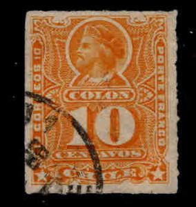 Chile Scott 29a Used Columbus Rouletted Yellow colored stamp