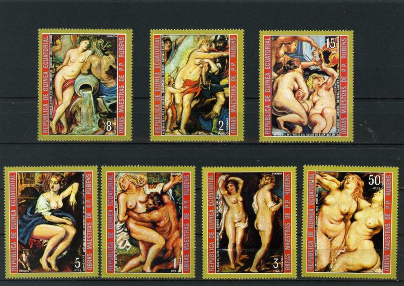 EQUATORIAL GUINEA PAINTINGS BY RUBENS NUDES SET OF 7 STAMPS MNH