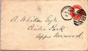 1901 Queen Victoria half penny stationery GB cover Thorntonheath > Upper Norword