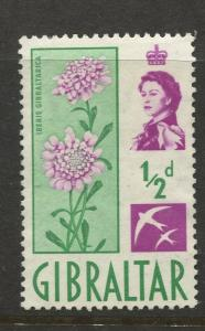 Gibraltar - Scott 147 - QEII Definitive Issue -1960- MH - Single 1/2d Stamp