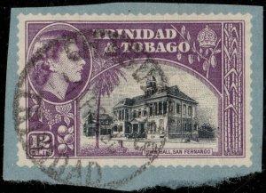 TRINIDAD & TOBAGO 1958 (Apr 1) CHAGUANAS / TRINIDAD DS on Cut-Out - Ref.832g