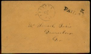 CSA Augusta GA Georgia Civil War Confederate Stampless Paid 5 Cover 92870