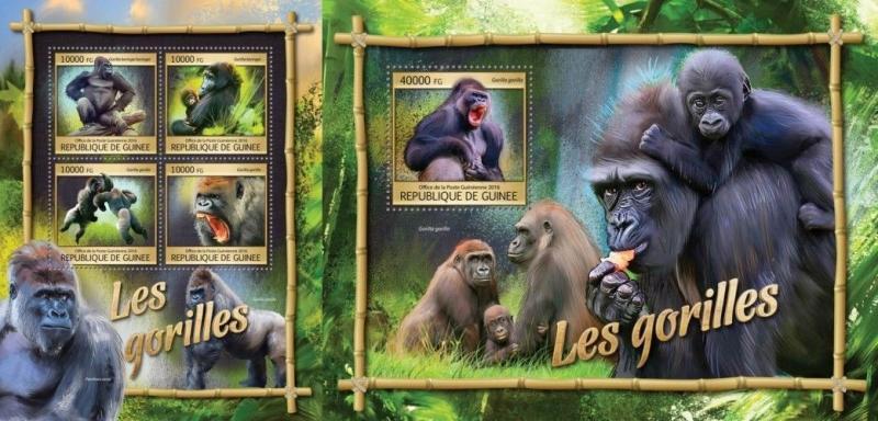 guinee Z08 Gu16311ab Guinea 2016 Gorillas Mnh Set