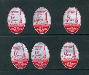 6 VINTAGE 1937 '500 MILE RACE' POSTER STAMPS (L480) INDIANAPOLIS 500 SILVER ANNY