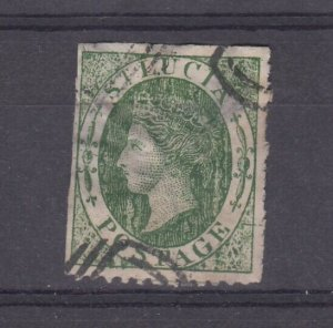 St Lucia QV 1860 6d Green SG3 Fine Used J8515