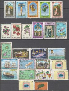COLLECTION LOT # 2449 ANGUILLA 25 MOSTLY MNH STAMPS 1967+ CLEARANCE