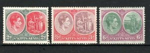 St Kitts-Nevis 1938-50 2d, 3d and 6d perf 13 x 12 MNH/MH