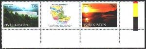 Uzbekistan. 2015. 1133-34. Regions of Uzbekistan, map. MNH.