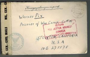 1946 Berlin Germany to Camp Stockton CAlifornia USA German POW Camp Cover W Pix